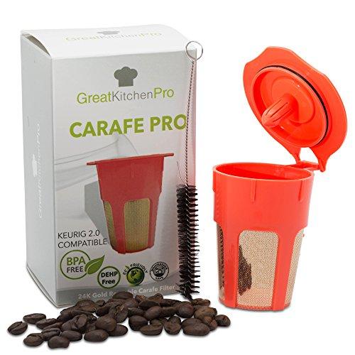 24K Gold Reusable K-Carafe Filter Bundle, Coffee K-Cup for Keurig 2.0, Compatible w/ Carafe 2.0 Coffee Machines, Keurig Filter, Keurig Carafe K Cups, Keurig 2.0 Reusable Coffee Filter + Cleaning Brush - Coffee Carafe Filter