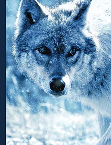Blue Winter Wolf Composition Notebook, Wide Ruled: Lined Student Exercise Book