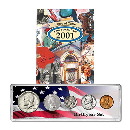 Certificate Gift Jewelry - 2001 Year Coin Set & Greeting Card : 18th Birthday Gift - Birthyear Set