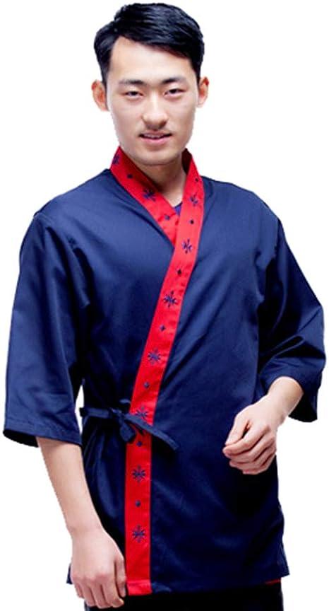 Hombres Chef Coat Mangas 3/4 cocinar Camisa Kimono Cocina Japonesa Chaqueta Chef Ropa de Trabajo: Amazon.es: Deportes y aire libre