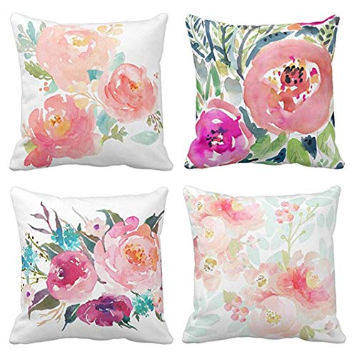 (Emvency Set of 4 Throw Pillow Covers Peonies Summer Watercolor Floral Pink Flower Girly Pastel Mint Colorful Decorative Pillow Cases Home Decor Square 18x18 Inches Pillowcases)