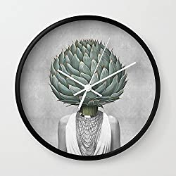 Society6 Artichoke Head Wall Clock Black Frame, White Hands