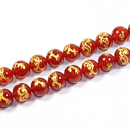 JARTC Rare Collection Natural Red Agate Carved Dragon Pattern Round Loose Beads for Jewelry Making DIY Bracelet Necklace (14mm) ()