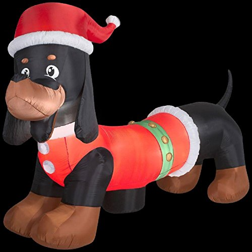 CHRISTMAS INFLATABLE GIANT 10' DACHSHUND WITH SANTA HAY BY GEMMY (Air Blown Inflatables)