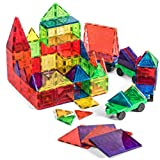 Jack & Roo Mag Builders 104-Piece Magnetic Tiles with Storage Case, 100-Piece Magnetic Blocks Set and 4 Magnetic Car