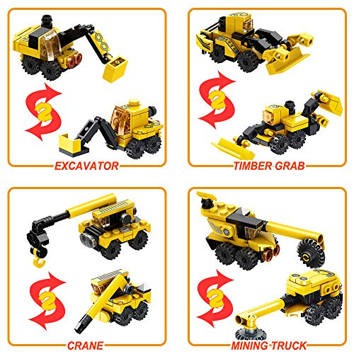 CLOURF Urban Engineering Robots Building Toy kit 12in1 Compatible with Most Major Brands of Building Bricks