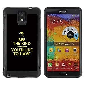 Suave TPU Caso Carcasa de Caucho Funda para Samsung Note 3 / BIBLE Bee The Kind / STRONG