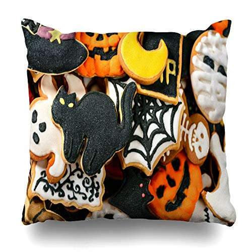 Kutita Decorativepillows Covers 18 x 18 inch Throw Pillow Covers, Close Up of Halloween Cookies Pattern Double-Sided Decorative Home Decor Pillowcase Sofa Bedroom Car -