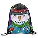 Patchwork Snowman Drawstring Bags Portable Backpack Pocket Bag Travel Sport Gym Bag Yoga Runner Daypack