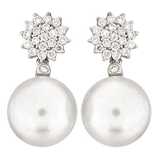 Boucles d'oreilles mariée argent de loi 9252ml détachable avec microengaste en zircon et perle australienne 12-13mm fermeture pression