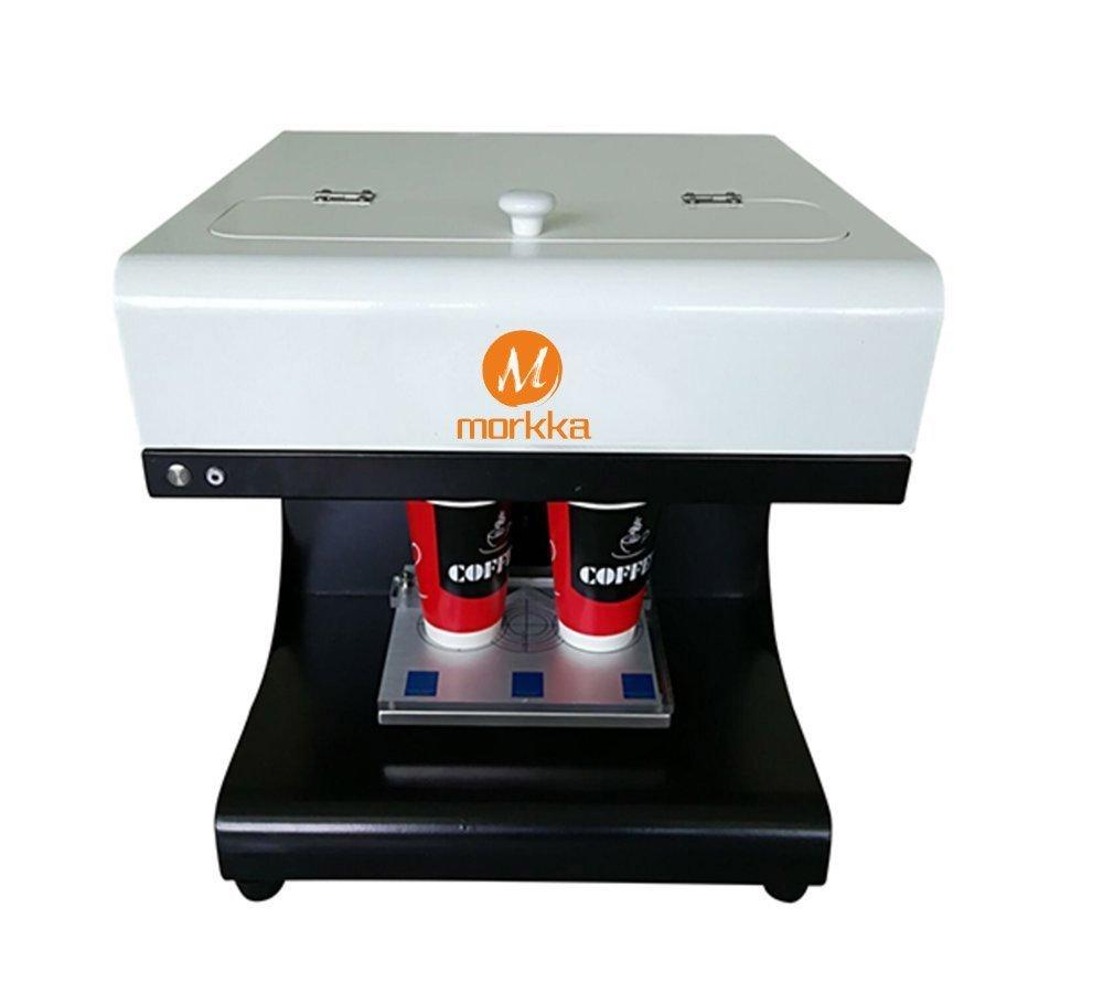 Mokka 3D Coffee Printer, 2017 Upgrade 2 Cups Latte Cake Selfie Art Printer Full Automatic Edible Ink Printer (White)