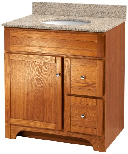 Foremost WROAT3021D-8W  Worthington 30-Inch Oak Bathroom Vanity with Wheat Beige Granite Top and White Vitreous China Sink - Foremost Oak Vanity