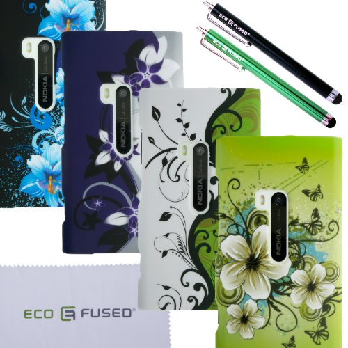 ECO-FUSED-NOKIA-LUMIA-920-Flowers-hard-case-Combine-Cover-Bundle-Four-Flowers-hard-case-cover-White-with-greenGreenPurple-with-greyBlack-Two-Stylus-Pens-Black-Green-2-Screen-Protectors-1-Opening-Tool-
