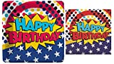 Super Power Super Hero Happy Birthday Small Plates and Napkins By Design Design
