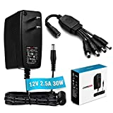 Chanzon 12V 2.5A 30W AC DC Power Supply Adapter (Input 100-240V Output 12 Volt 2.5 Amp 30 Watt) Wall Wart Transformer UL Charger with 4-Way Splitter Cord for DC12V DVR NVR CCTV Camera LED Strip Lights