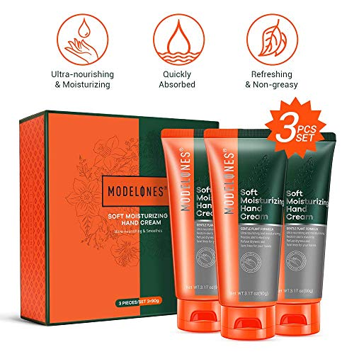 Modelones Soft Moisturizing Hand Cream - High-Intensity & Fast-Absorbing Hand Lotion for Very Dry Skin - 3.17 oz Tube (Pack of 3) (Best Lotion For Soft Hands)