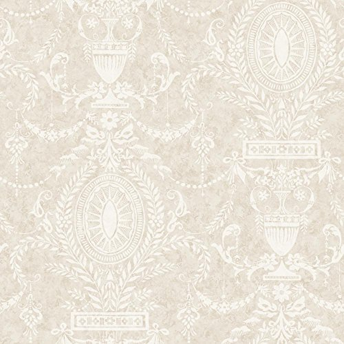 York Wallcoverings American Classics Neoclassical Urn Wallpaper Memo Sample, 8 by 10-Inch, Eggshell, Beige, Pale Taupe (Neoclassical Urn)