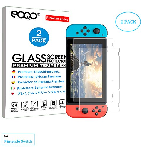 eoqo® Tempered Glass Screen Protector for Nintendo Switch 2017 Slim 9H Hardness HD Clear Bubble Free Anti-Fingerprint Oil Stain&Scratch Coating (2 - Round Face For Glasses Type