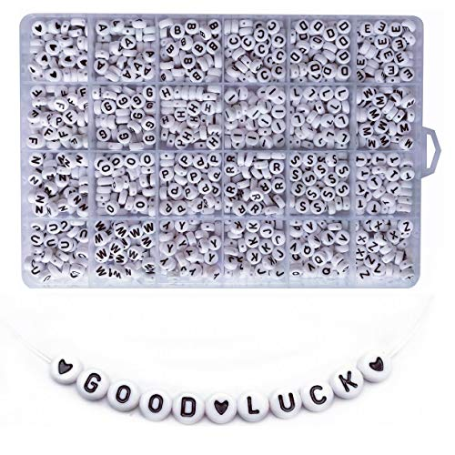 Amaney 1200 Pieces 4×7mm White Round Acrylic Alphabet Letter Beads A-Z and Heart for Jewelry Making Bracelets Necklaces Key Chains and Kids Jewelry Each Letter Included