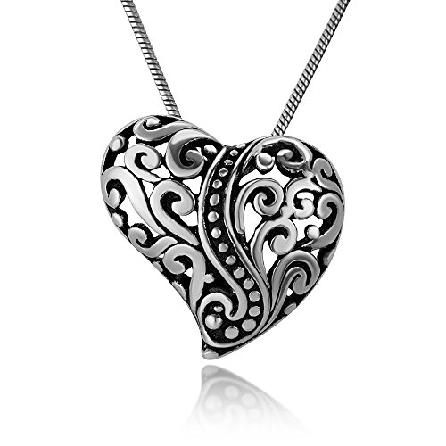 Filigree Puffed Heart (925 Oxidized Sterling Silver Open Filigree Heart Puffed Detailed Pendant Necklace, 18 inches)