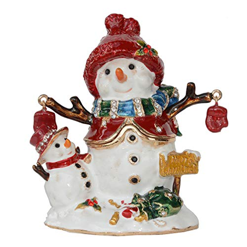 (Snowman Christmas Trinket Box Hinged Hand-Painted Figurine Collectible Ring Holder with Gift Box)