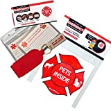 OFTO ICE Kit - 4 Wallet-Sized In Case of Emergency Contact Cards, 2 ''My Pet is Home Alone'' Key Fobs, a Waterproof Pouch & Self-Sealing Laminated Pouch + 2 Reflective Pets Inside Stickers USA MADE