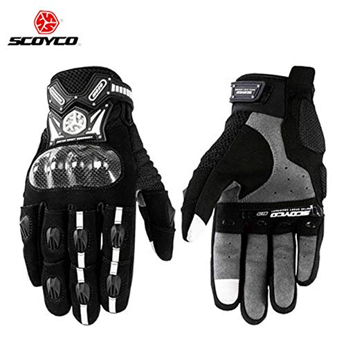 Scoyco MC20 Touch Screen Motocicleta Full finger Gloves Motorcycle Gloves Carbon Fiber Motorbike Guantes Luvas Protective (Medium, Black)