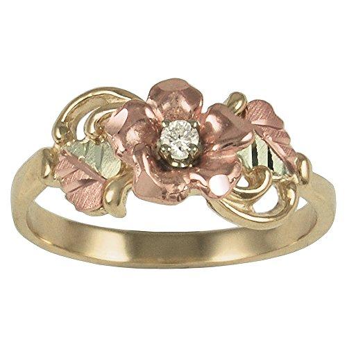 Tri color 10k Black Hills Gold Diamond(.05 ct) on Rose Ring (Color Tri Gold Diamond)