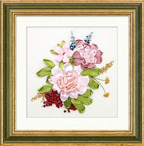 Aureate Handmade Silk Ribbon Embroidery Kits Canvas 3D Wall Art Home Decoration DIY Needlepoint Tapestry Hanging Gift Floral 14