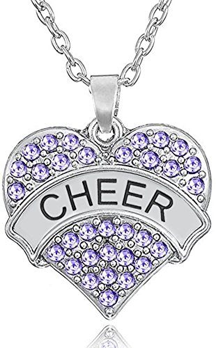 Cheer Mom Necklace (Silver Tone Crystal Heart Shaped