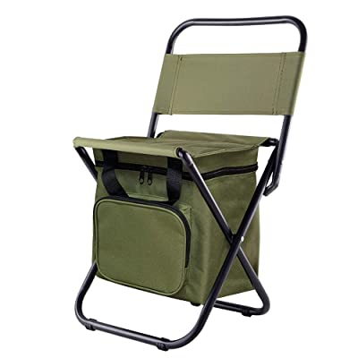 Kingmodern Portable Lightweight Backpack Chair Outdoor Small Camping Folding Waterproof Oxford Fabric Backrest Chair Hold up13L Cooler Bags Suitable for Fishing,Hiking,Picnic,Travel BBQ (ArmyGreen): Kitchen & Dining