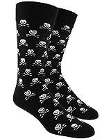 The Tie Bar Skull and Crossbones Patterned Men's Cotton Blend Dress Socks
