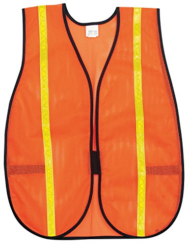 MCR Safety V211R Polyester Mesh General Purpose Safety Vest with 3/4-Inch Lime Reflective Stripe, Fluorescent Orange Fluorescent Lime Safety Vest