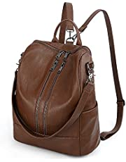UTO Women Backpack Purse PU Washed Leather Convertible Ladies Rucksack Double Zipper Pockets with Shoulder Strap