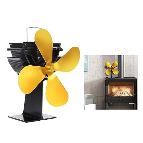 Horno de Calefacción con Ventilador de Chimenea, Ventilador de Estufa Autoajustable de Calor Ajustable -