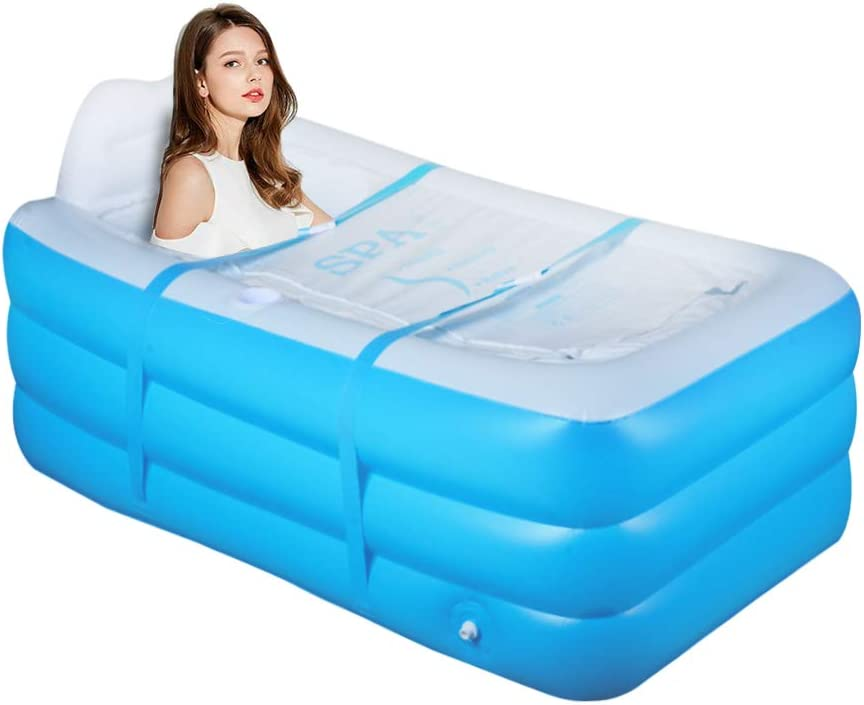 Inflatable Portable Bathtub, Family Bathroom Home Spa, Foldable Inflatable Durable Soaking Bathtub with Large Backrest, Outdoor Freestanding Inflatable Pool, Easy to Inflate and Use