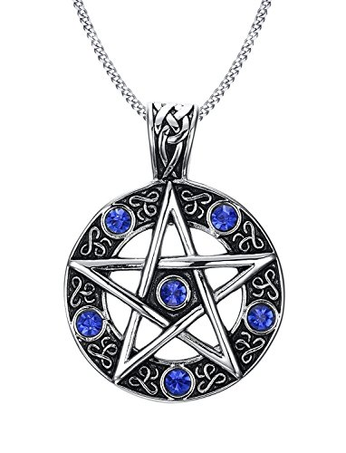 (Blowin Vintage Stainless Steel Pentacle of Life Pentagram Pagan Pendant Biker Mens Necklace, Blue, 24 inch Chain )