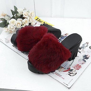LvYuan Mujer-Tacón Robusto-Confort-Tacones-Informal-PU-Negro Rojo Gris Red