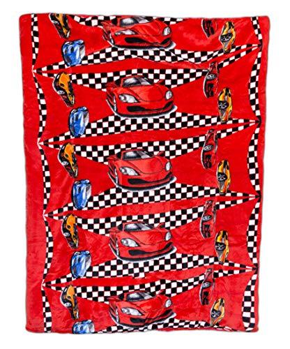 Elegant Homes Kids Soft & Warm Sherpa Baby Toddler Boy Blanket Printed Borrego Stroller or Baby Crib or Toddler Bed Blanket Plush Throw 40X50 (Race Car)