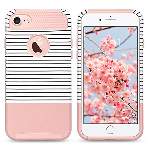 iPhone 7 Case, ULAK Colorful Series Slim Hybrid Scratch Resistant Hard Back Cover Shock Absorbent TPU Bumper Case for Apple iPhone 7 4.7 inch Rose Gold/Black Stripe