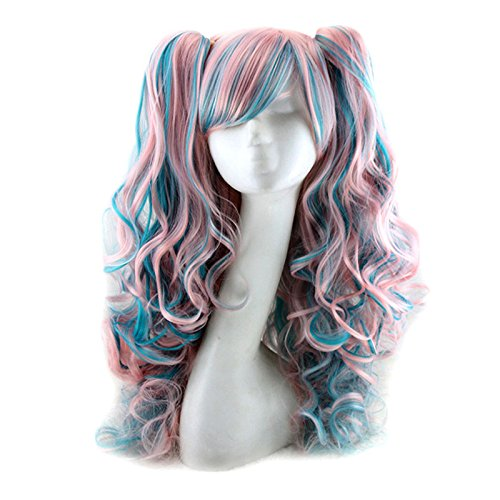 Gooaction Lolita Cosplay Wigs Multi-color Long Curly Wavy Wig 2 Clips on Pigtail Custome Wig, Dark - Pigtail Springs