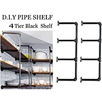 Industrial Retro Wall Mount iron Pipe Shelf,DIY Open Bookshelf,Hung Bracket, DIY Storage Shelving,Home Improvement Kitchen Shelves,Tool Utility Shelves, Office shelves, bookshelves and bookcases(2pcs)