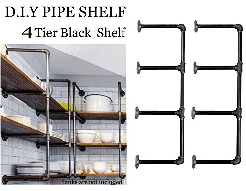 Bookcase Wall System (Industrial Retro Wall Mount iron Pipe Shelf,DIY Open Bookshelf,Hung Bracket, DIY Storage Shelving,Home Improvement Kitchen Shelves,Tool Utility Shelves, Office shelves, bookshelves and bookcases(2pcs))