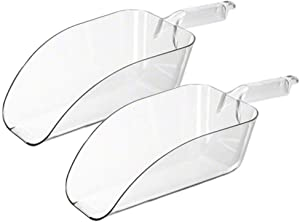 (2 Pack) 64-Ounce Clear Polycarbonate Scoop, Large Plastic Ice Scoop, Candy Scoops, Popcorn Scoops, Heavy-Duty Utility Scoops by Tezzorio