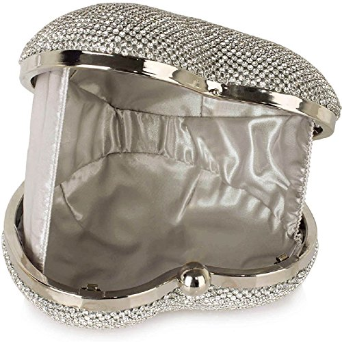 Heart Sparkly Silver Crystal Diamante FREE Bag UK DELIVERY Clutch Evening Shaped Beautiful q4wIx5ZAx