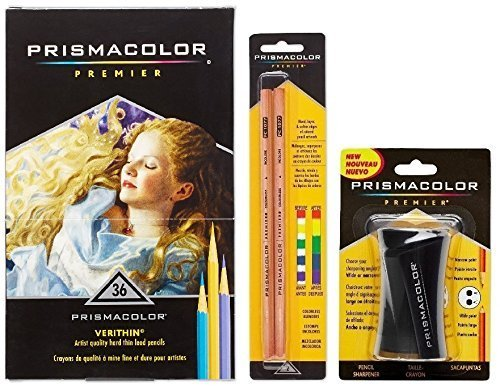 Prismacolor Verithin Colored Pencil and Accessory Set, Set of 36 Prismacolor Verithin Colored Pencils, One Prismacolor Pencil Sharpener, and a 2-pack of Prismacolor Colorless Blender Pencils …
