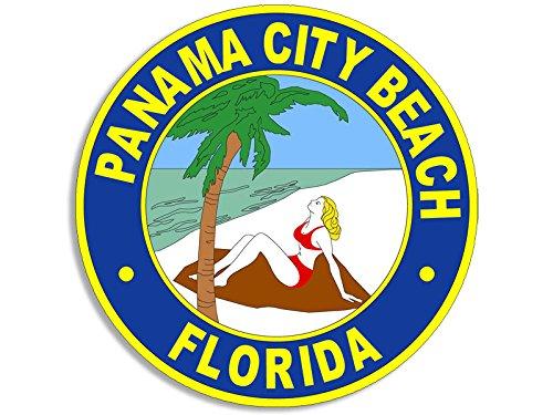 American Vinyl Round Panama City Beach Seal Sticker (Florida Logo FL Official)