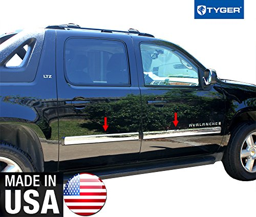 Made In USA! Works With 2007-2008.5 Chevy Suburban/Avalanche Rocker Panel Chrome Stainless Steel Body Side Moulding Molding Trim Cover 3.5