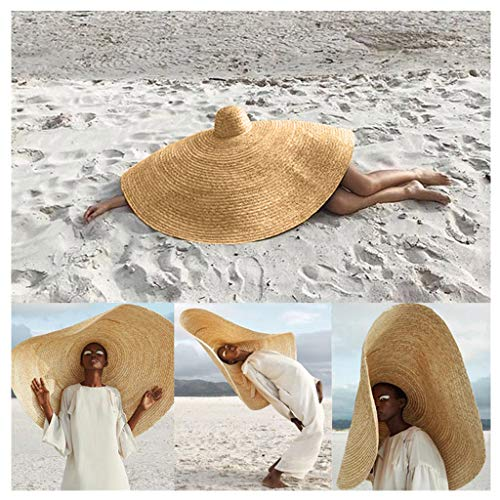 Wenini 2019 Hottest Womens Fashion Huge Sun Hat, Novelty Unisex Summer Large Sun Hat Beach Anti-UV Sun Protection Foldable Straw Cap Cover, Suitable for Most (Khaki, Free Size - 31.5inch Diameter)