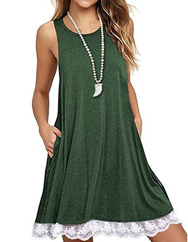 Sanifer Women Summer Tunic Dress Lace Tank Dress Sleeveless T-Shirt Dress with Pockets (Medium, Green) -